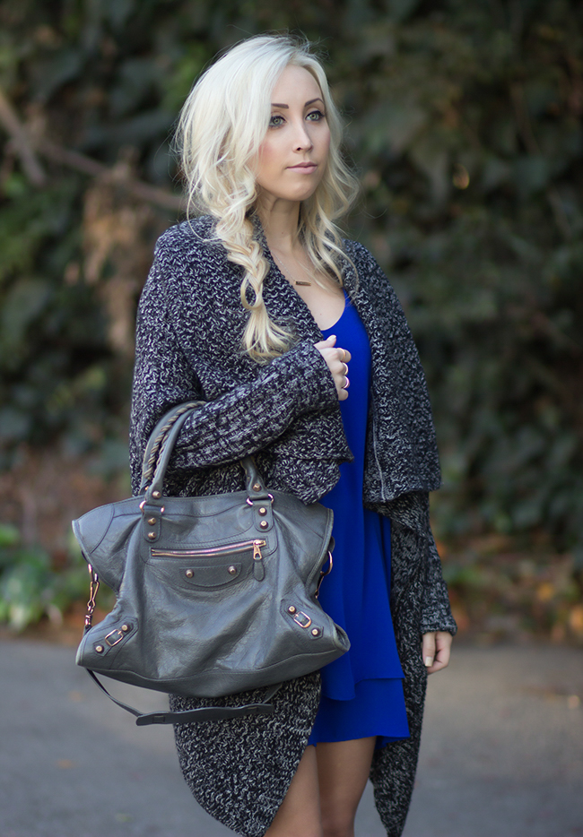 Bag: Balenciaga / Cardigan: Windsor / Dress: Forever 21