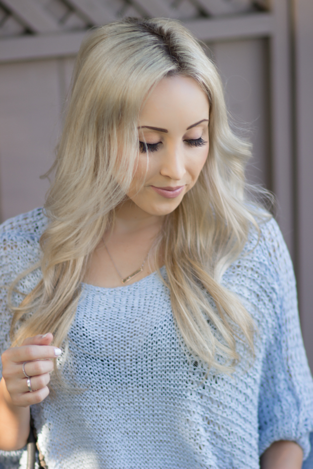 Pastel Blue Slouchy Sweater: Chicwish