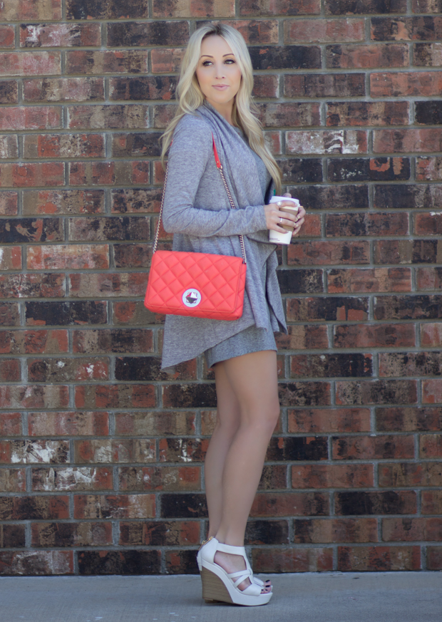 Coral Kate Spade Bag & Gray on Gray | StyledByBlondie.com