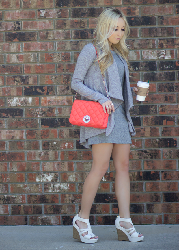 Coffee In Hand , Coral Kate Spade Bag | StyledByBlondie.com