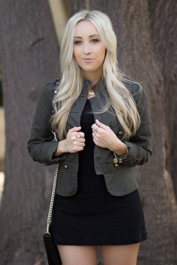Green Jacket & a Black Dress || StyledByBlondie.com