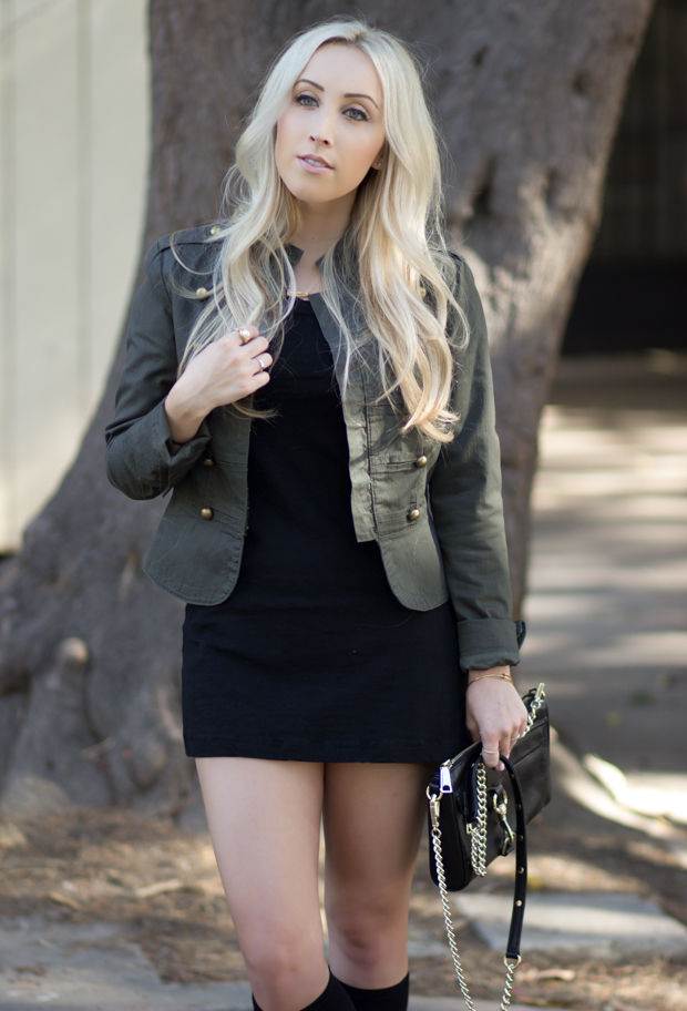 Dark green jacket & a Black Dress || StyledByBlondie.com