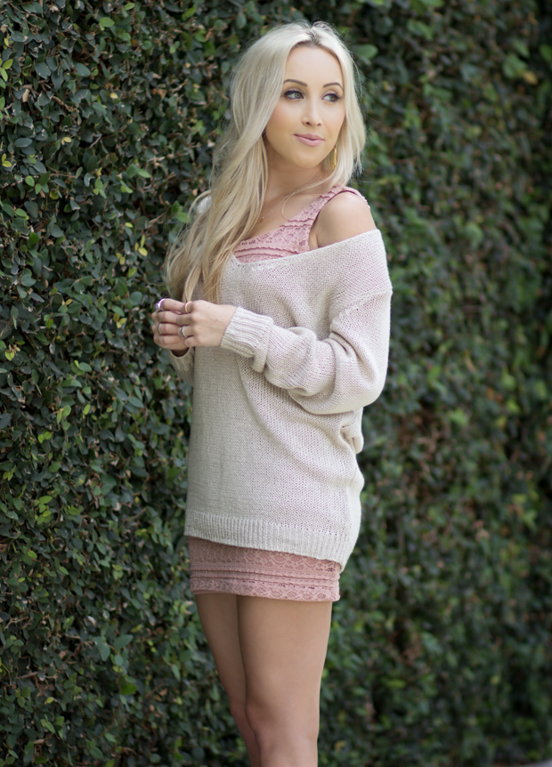 Bodycon Dress & a Loose Sweater + Nude Lip || Styledbyblondie.com