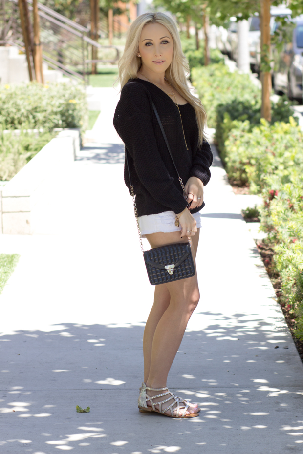 Black Off-the-shoulder sweater || StyledByBlondie.com