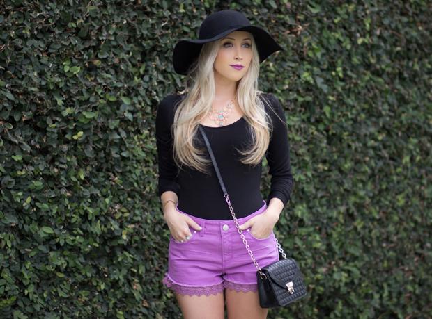 High Waisted Purple Shorts / Black Floppy Hat || Styledbyblondie.com