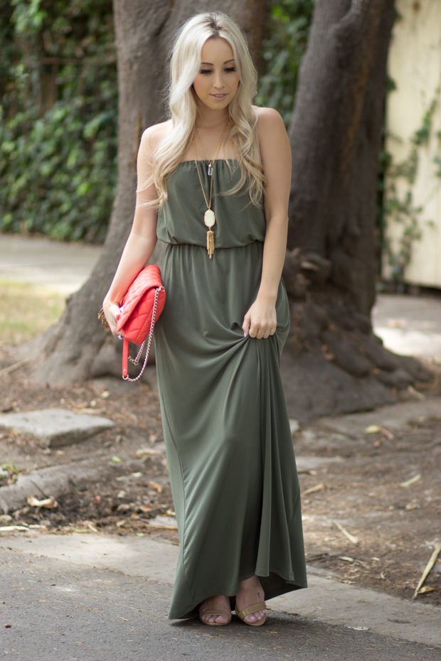 Green Strapless Maxi Dress || Styledbyblondie.com