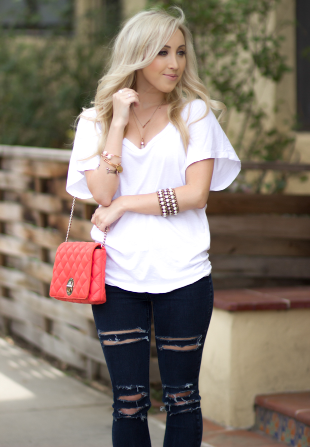 triplethread10-2Casual Outfit, Coral Kate Spade Bag || Styledbyblondie.com