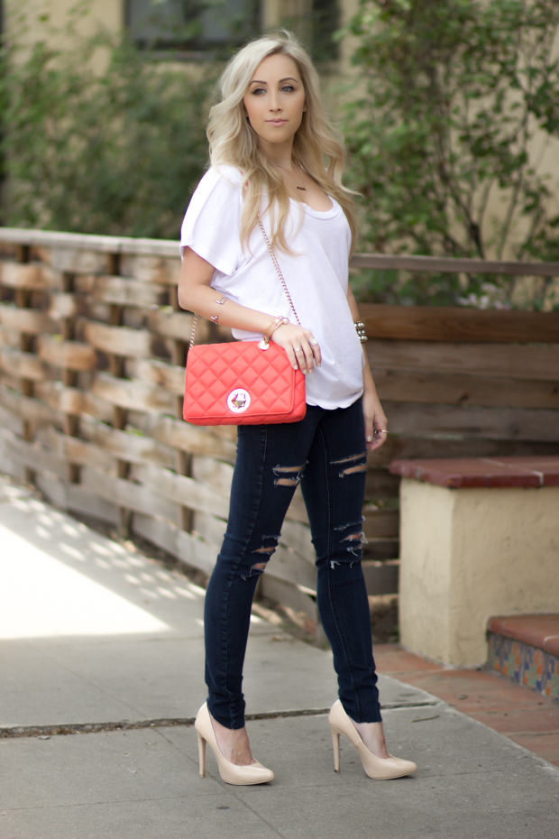 Casual Outfit, Coral Kate Spade Bag || Styledbyblondie.com