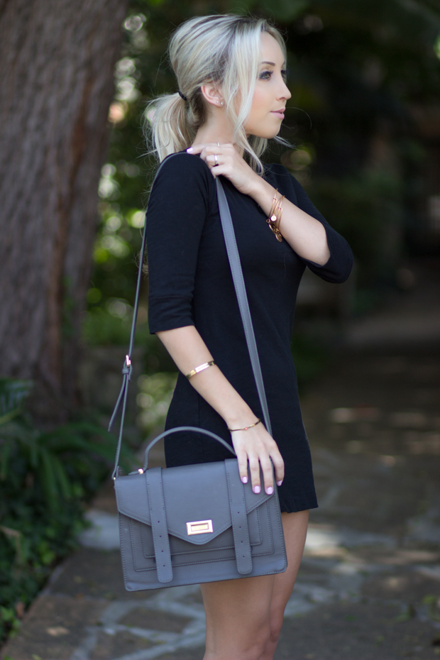 Simple Black Dress + Messy Pony Tail | Styledbyblondie.com