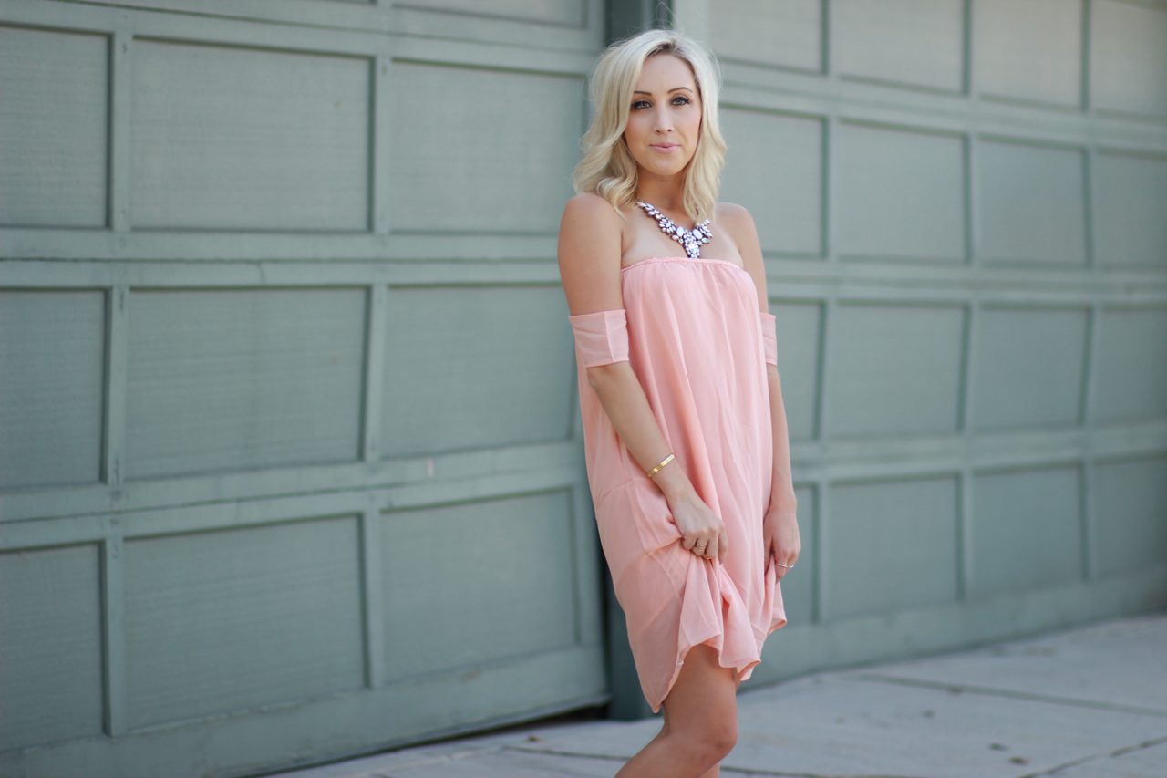 Peach Dress | StyledByBlondie.com