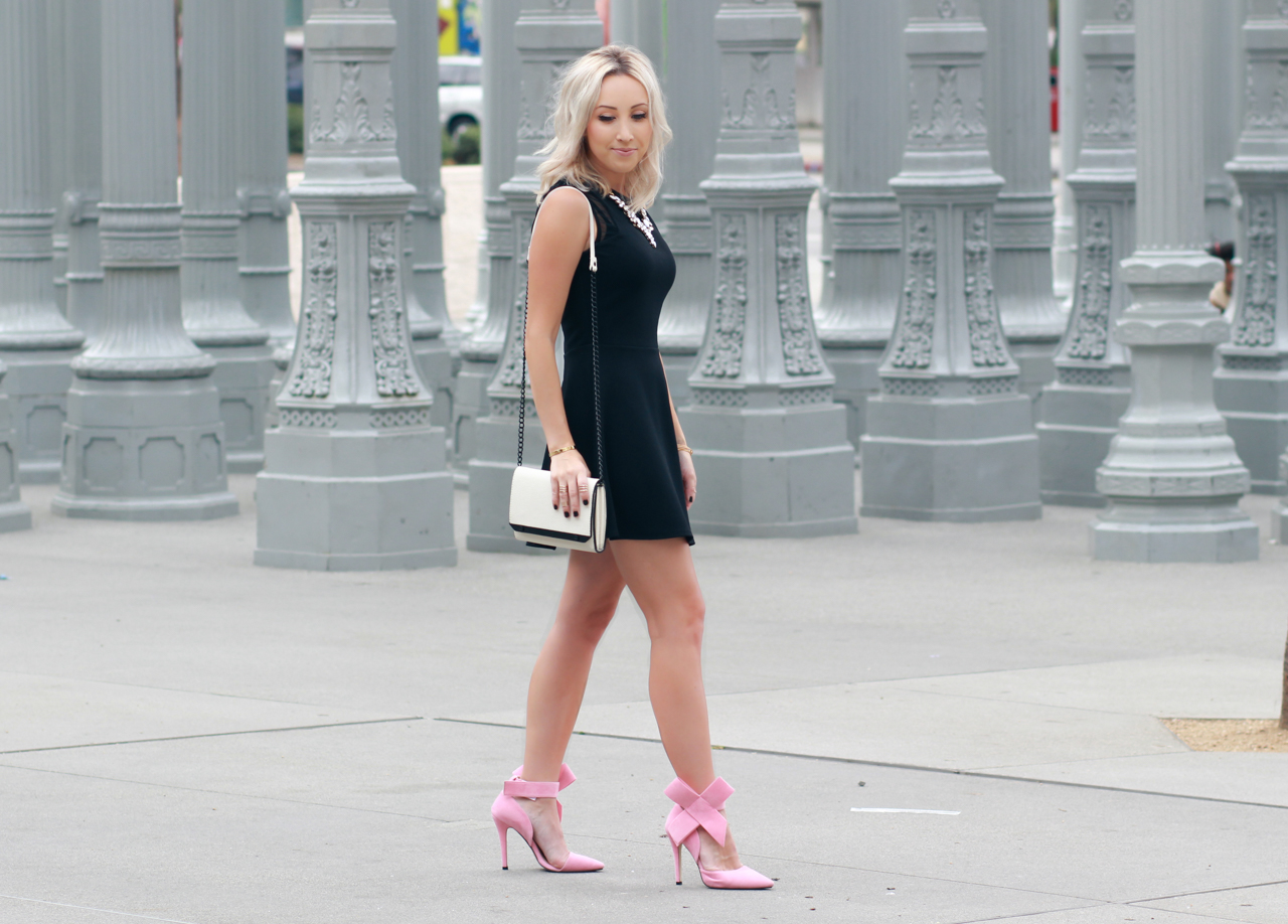 Black Dress And Pink Heels