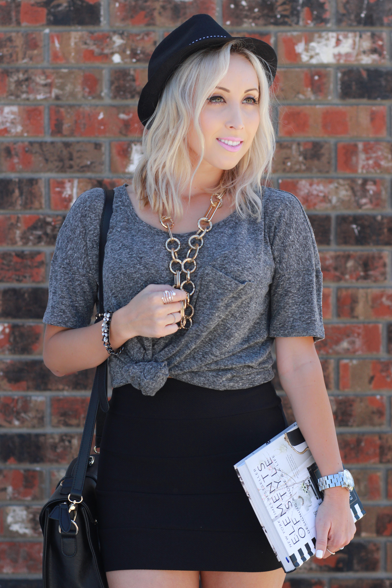High Waisted Skirt, Tied Up Oversized Shirt | StyledByBlondie.com