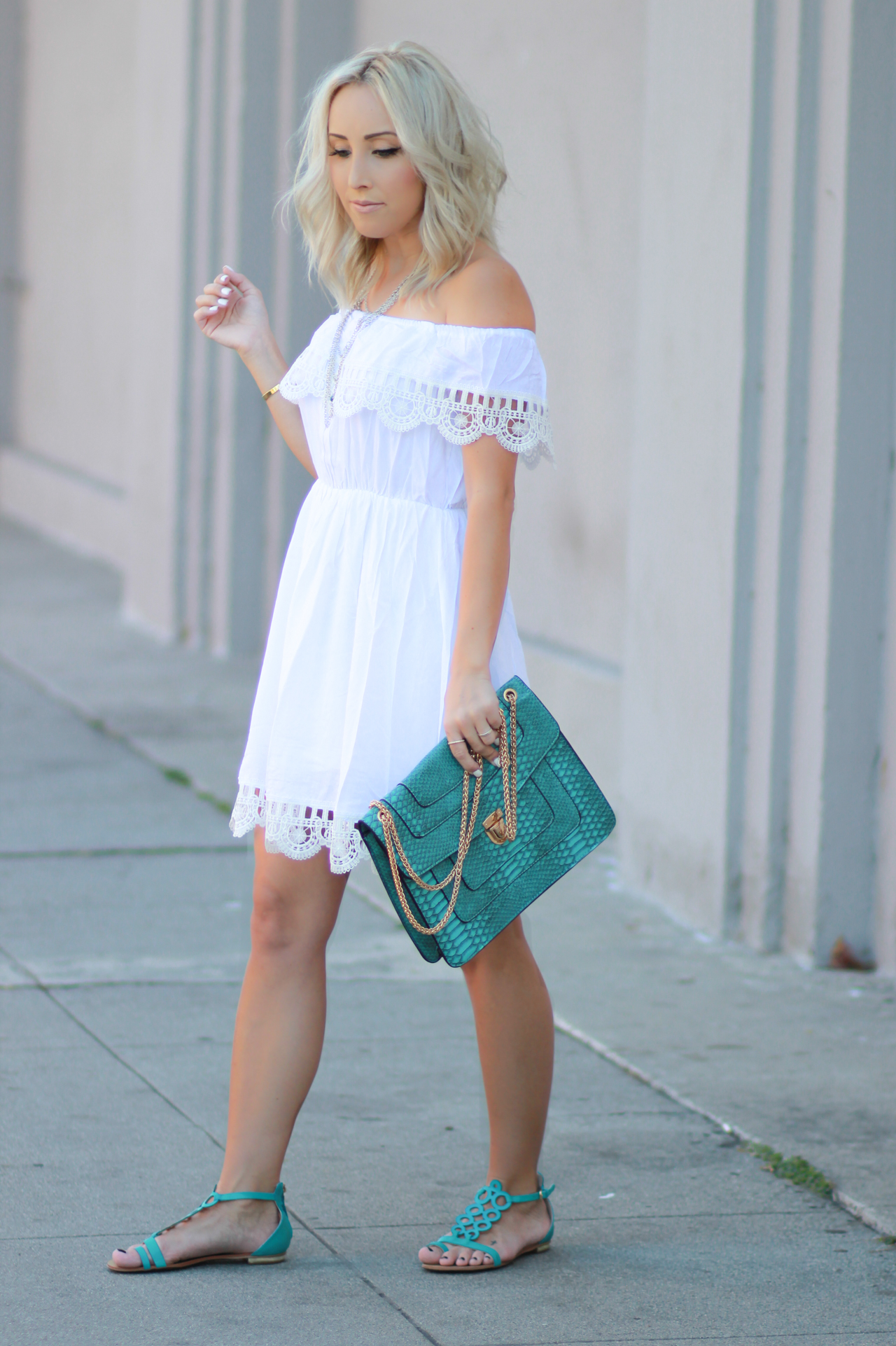 White Off The Shoulder Dress | StyledbyBlondie.com