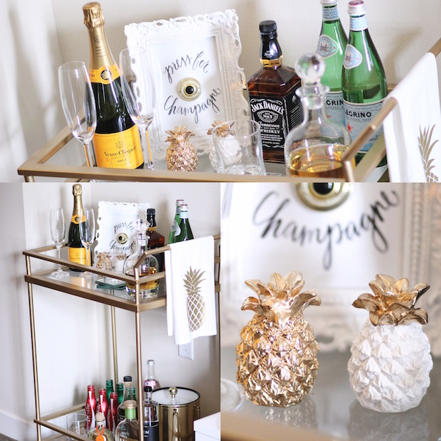 Gold Bar Cart | StyledbyBlondie.com