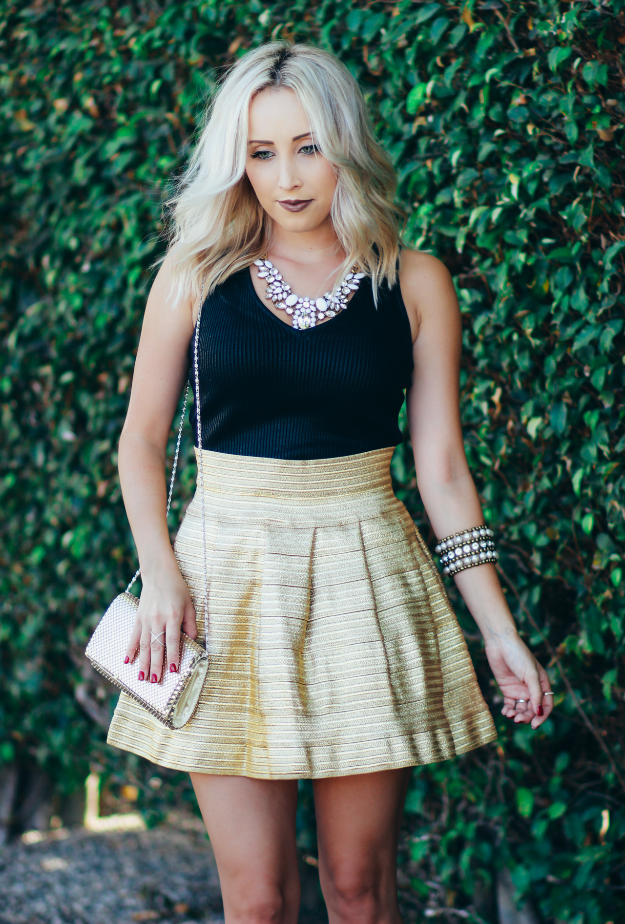 Holiday Outfit - Gold Skirt | StyledByBlondie.com