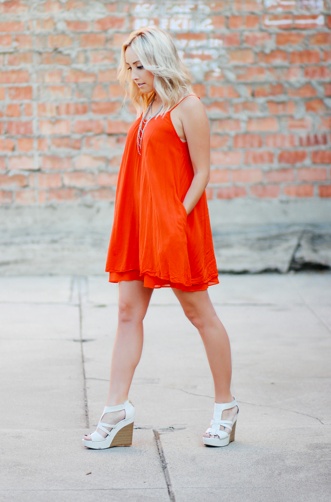 Blood Orange Armani Exchange Dress | StyledbyBlondie.com