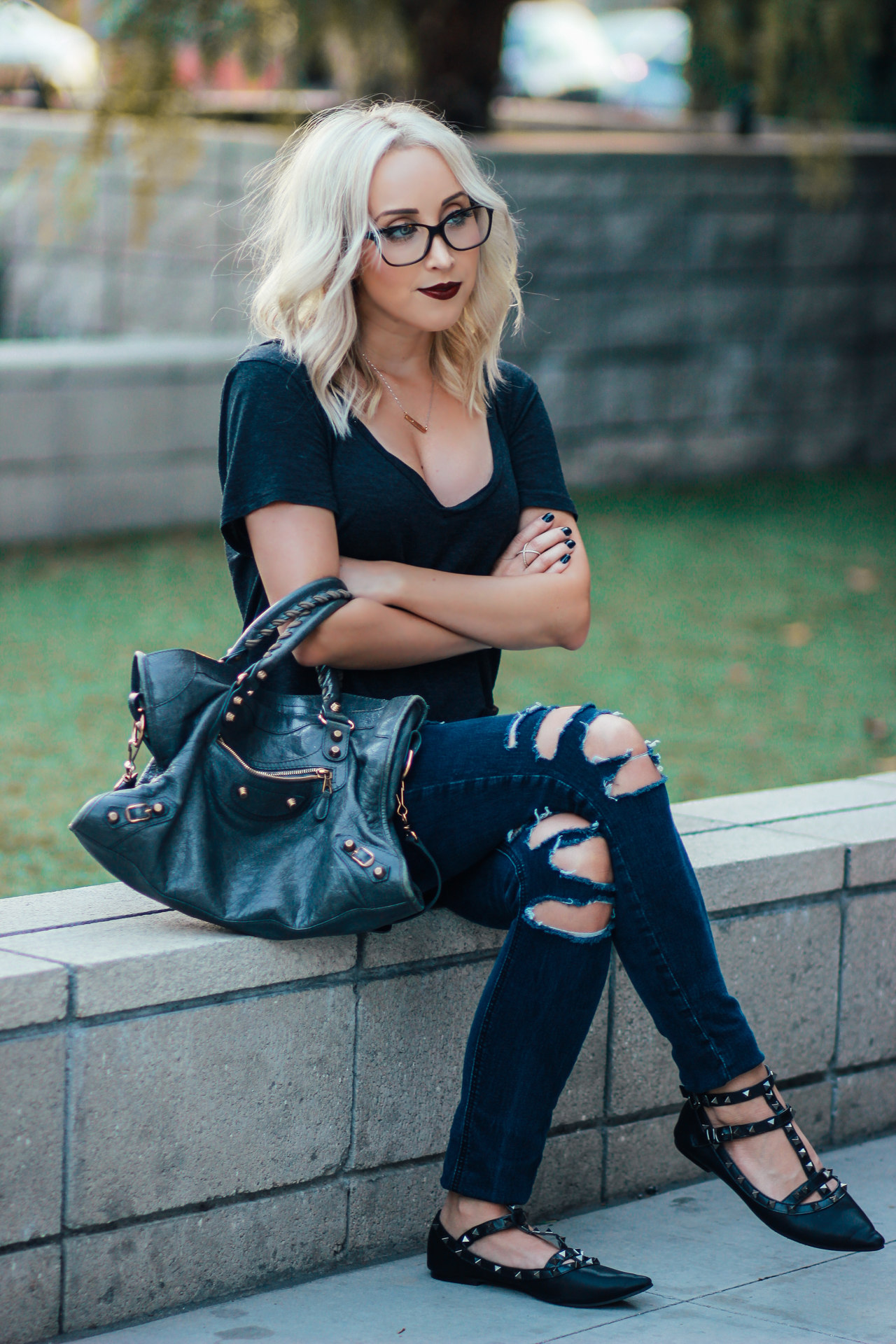 Ripped Jeans, Studded Flats, Oversized Tee | StyledByBlondie.com