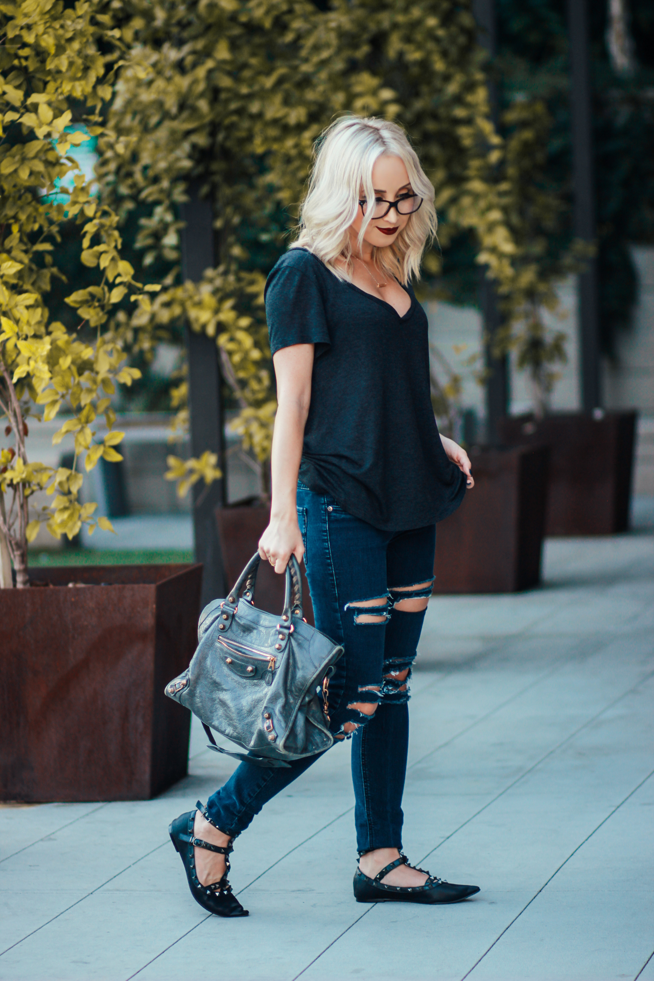 Ripped Jeans, Studded Flats, Oversized Tee   StyledByBlondie.com