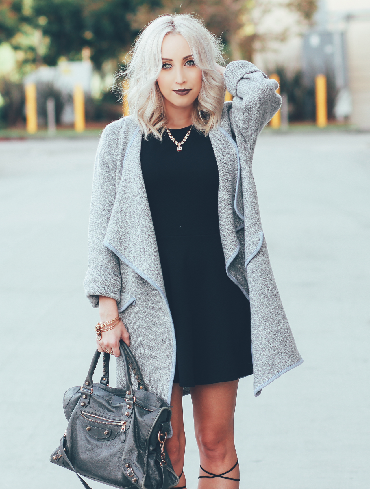 Gray Coat | Black Dress | Lace Up Heels | StyledByBlondie.com
