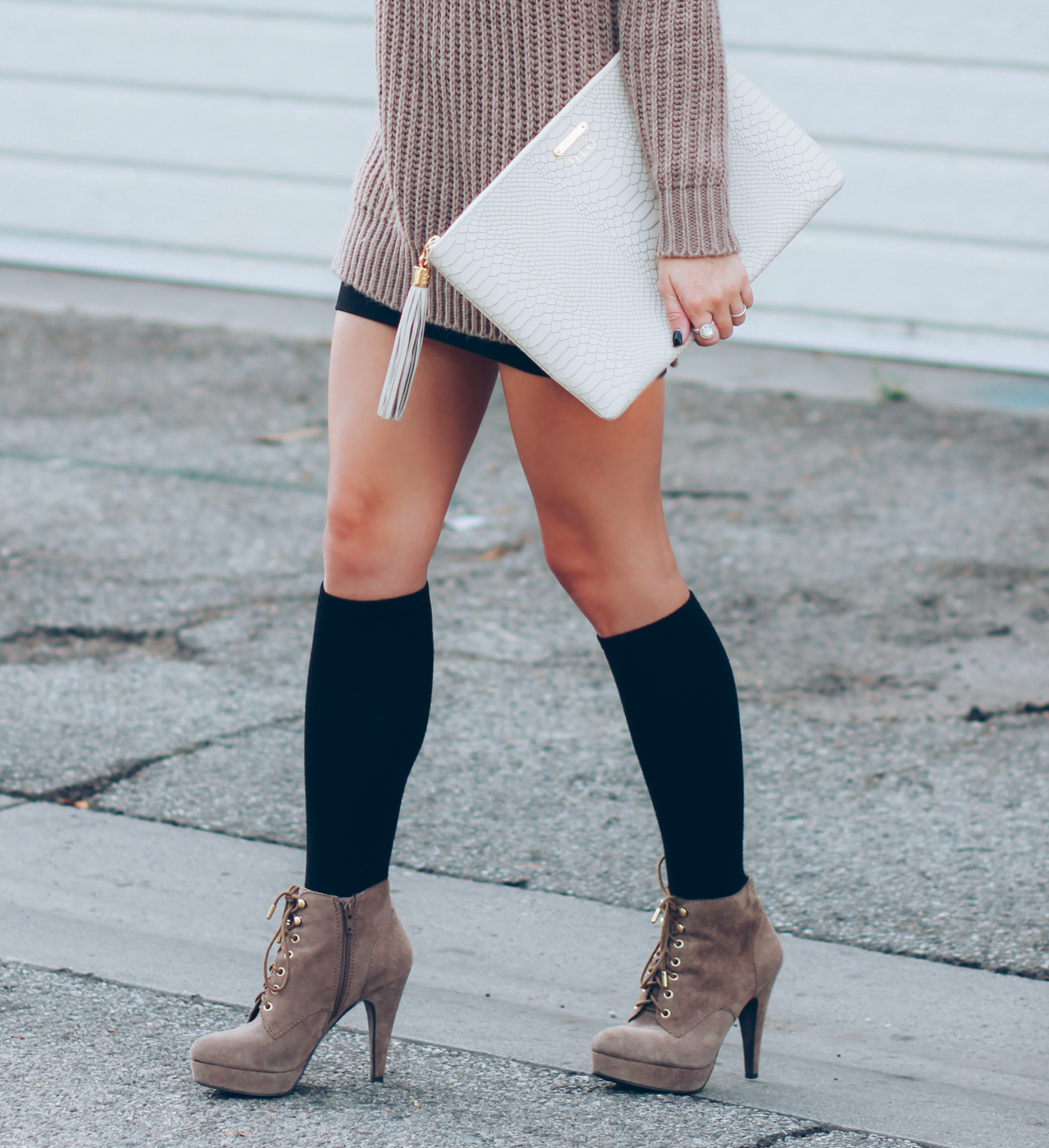 Long Knit Sweater | Knee Highs & Boots | Gigi New York Clutch | StyledByBlondie.com