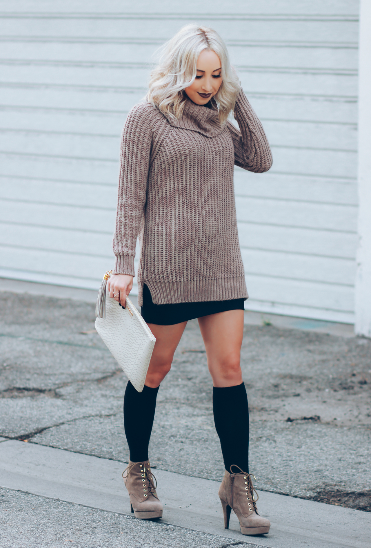 Long Knit Sweater | Knee Highs & Boots | StyledByBlondie.com