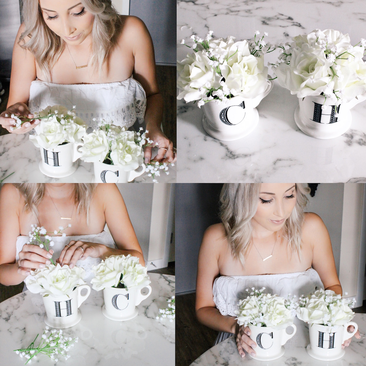 Turning coffee cups into decor with flowers | StyledByBlondie.com