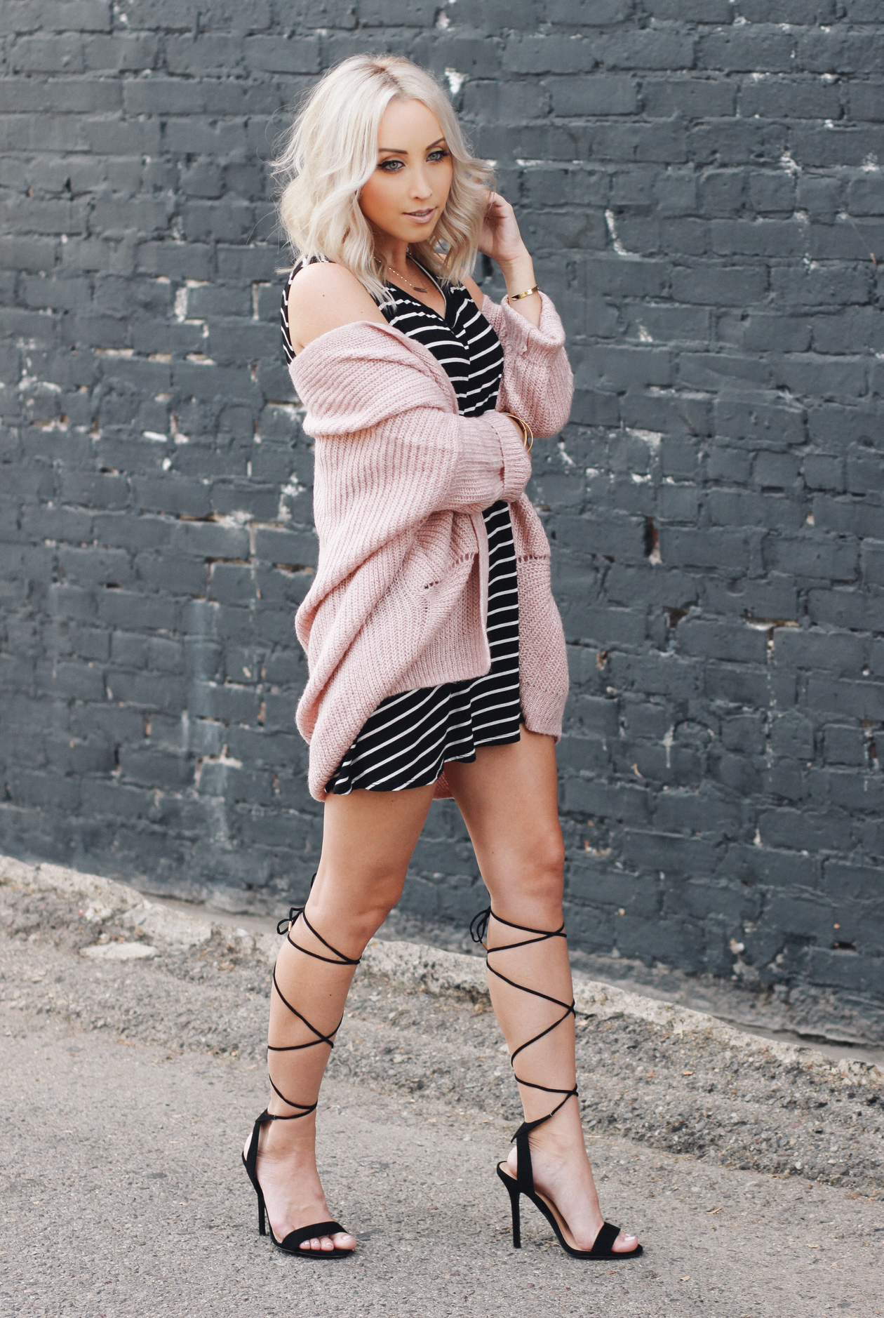 Striped Dress + Lace Up Heels | StyledByBlondie.com