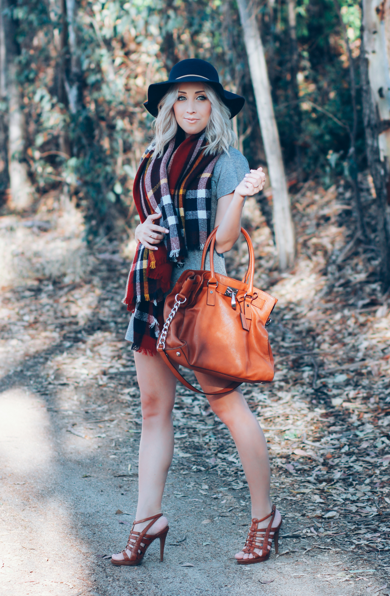 Camel Michael Kors Bag | Plaid Scarf | Gray & Navy | StyledByBlondie.com