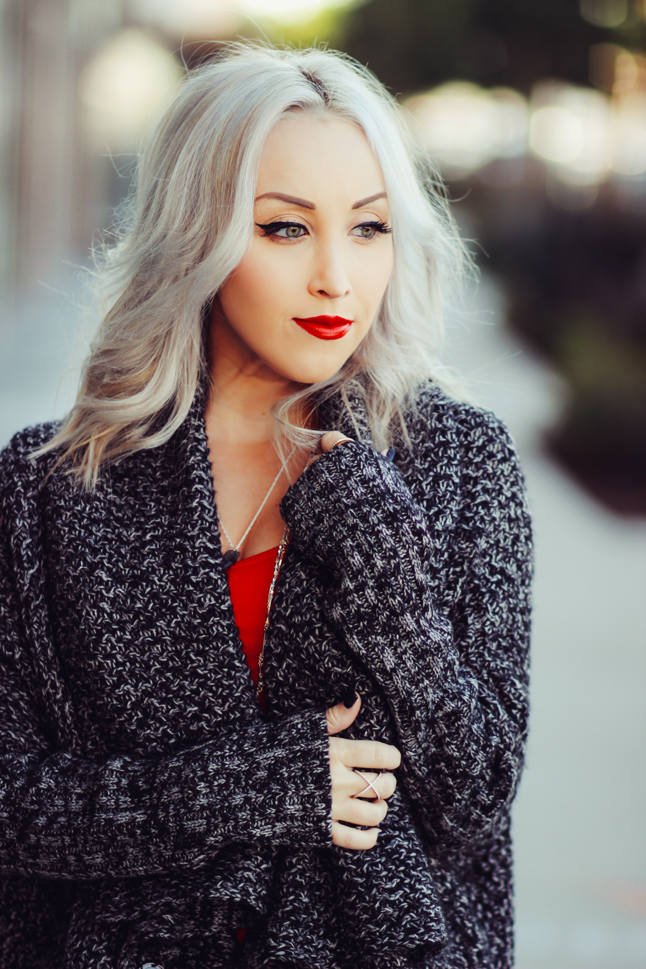 Red Bodycon Dress | Thick Gray Cardigan @Windsorstore | StyledByBlondie.com