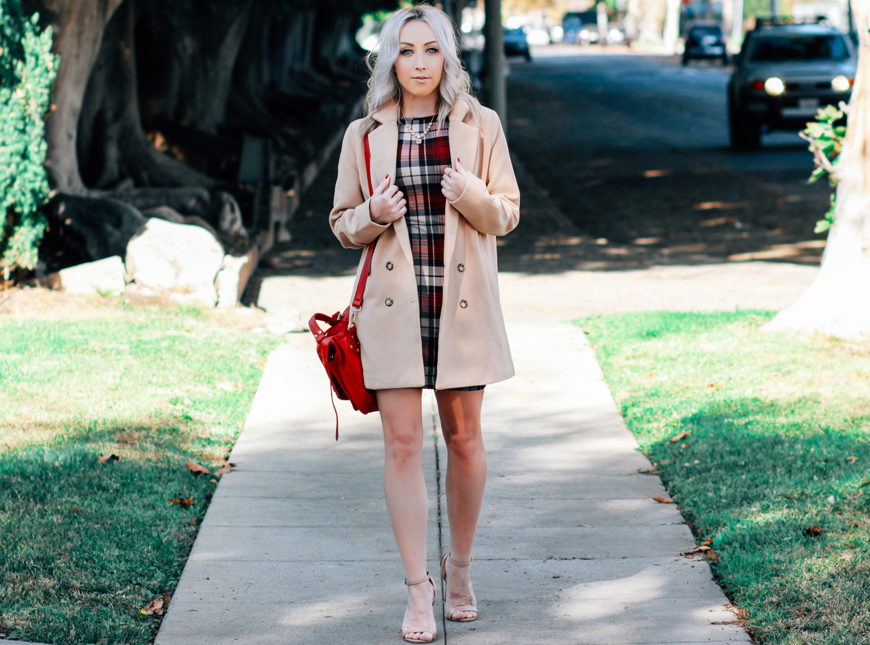 Plaid Dress | Camel Coat | StyledByBlondie.com