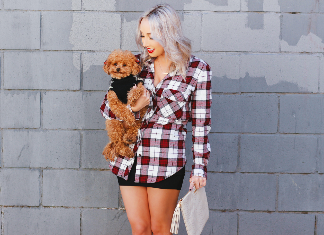 Plaid Button Up + Red Maltipoo | StyledByBlondie.com