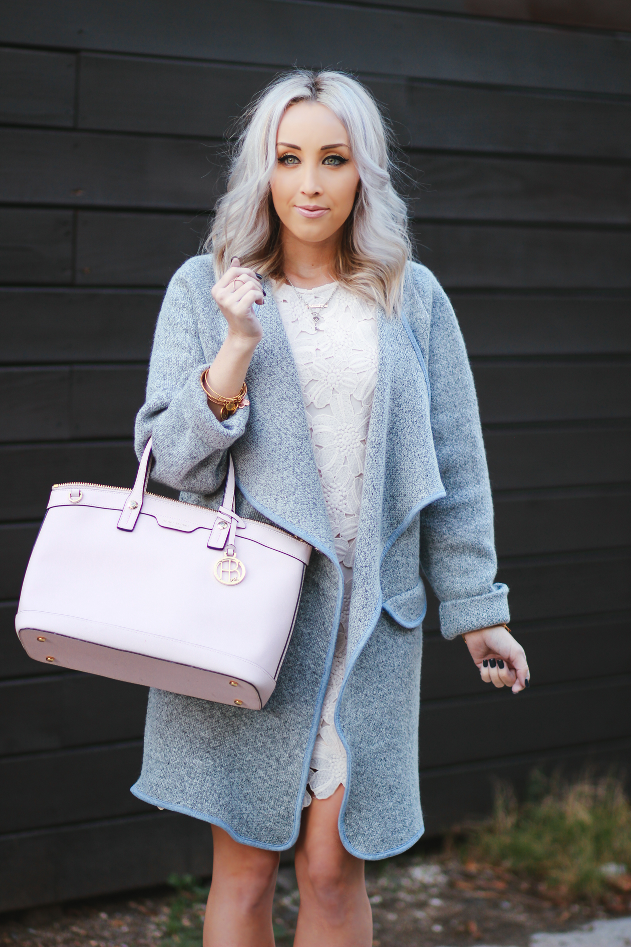 Grey coat, Pink Henri Bendel Bag, Crochet Dress | BlondieInTheCity.com