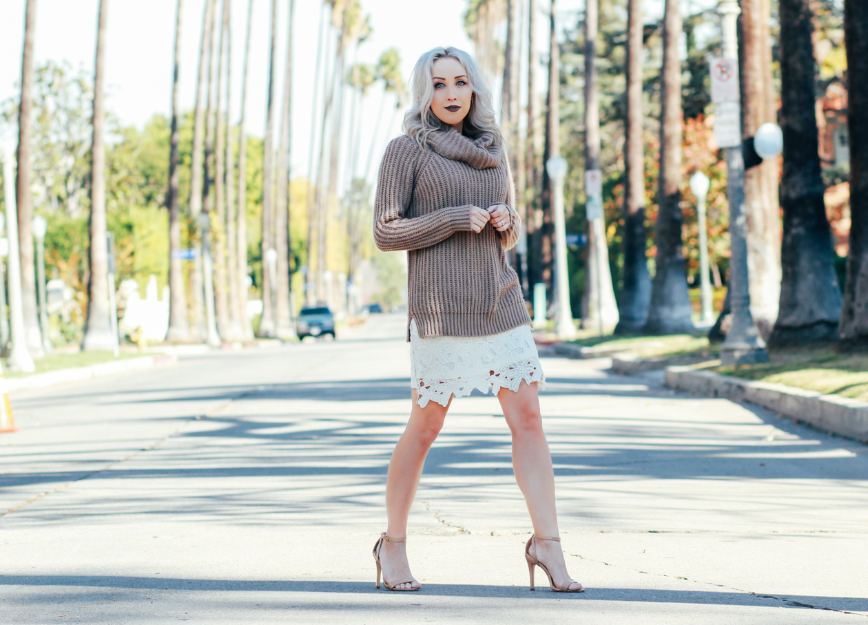 Chunky Sweater w/ Lace Dress underneath | BlondieInTheCity.com