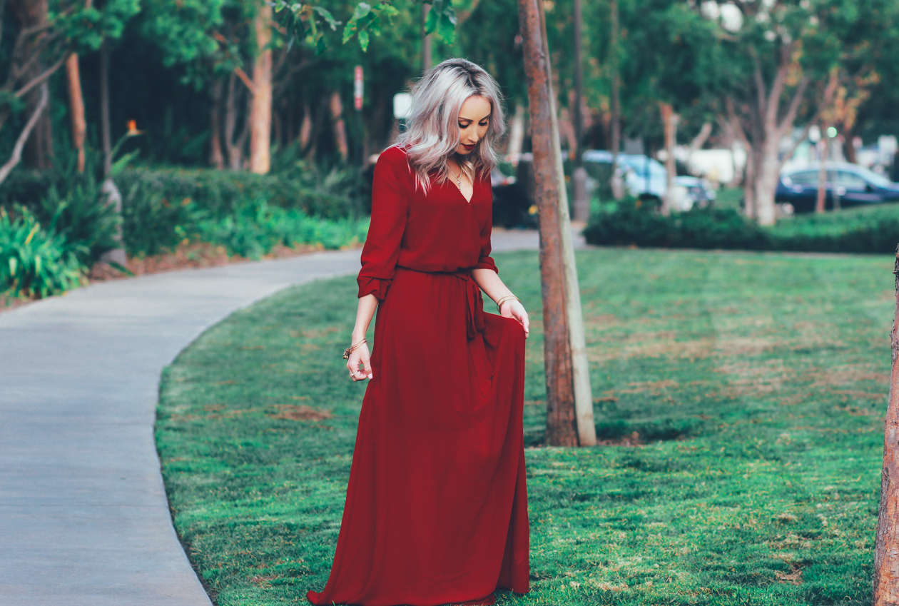 Valentine's Day Inspired Red Chiffon Dress | BlondieInTheCity.com