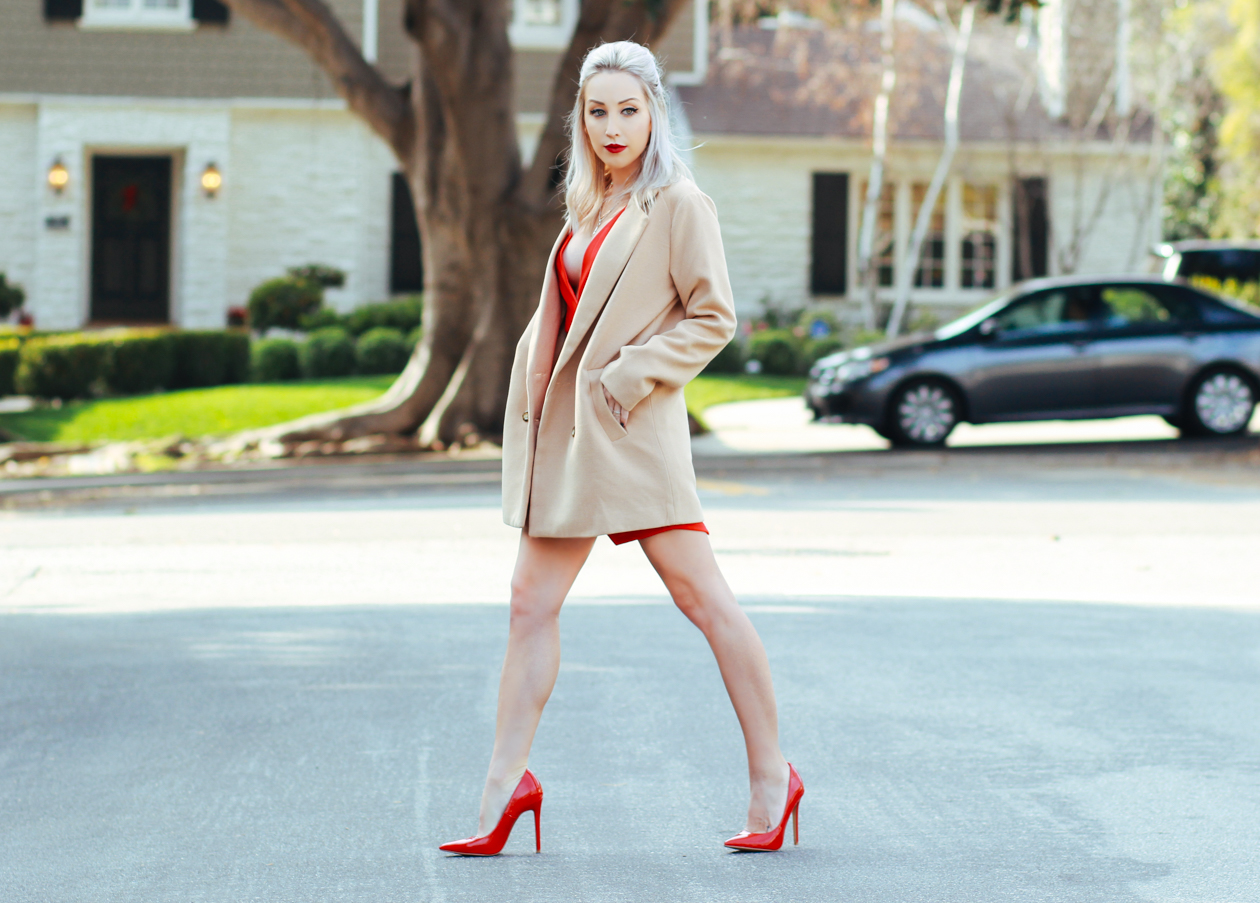 Red Plunge Dress | Camel Coat | Red Pumps | BlondieInTheCity.com