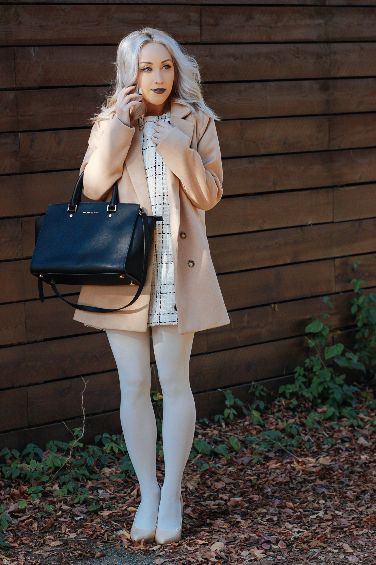 Tweed Dress, Cream Tights, Nude Coat, Black Michael Kors Bag | StyledByBlondie.com