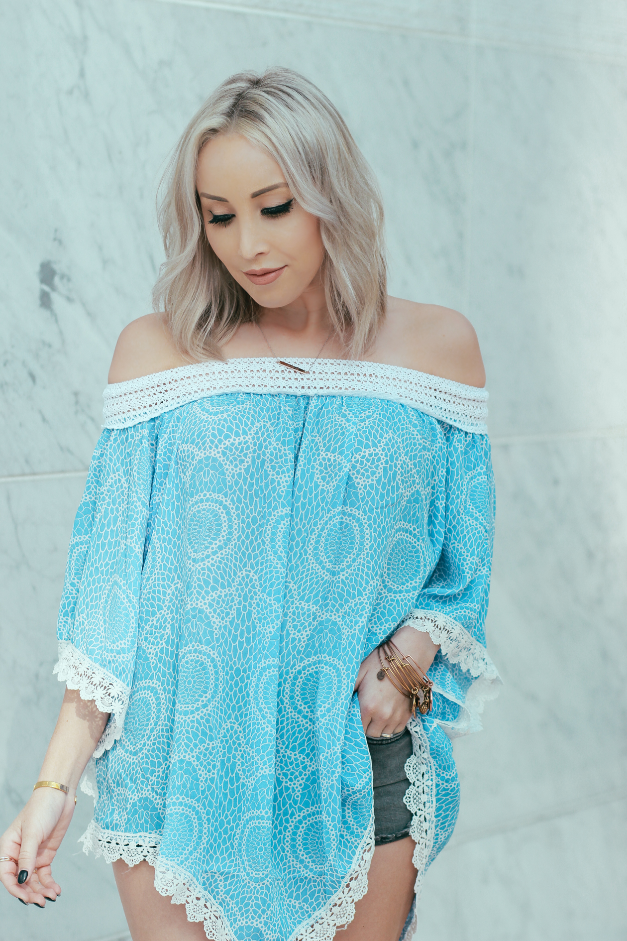 Blue Off The Shoulder Top for Summer | BlondieintheCity.com