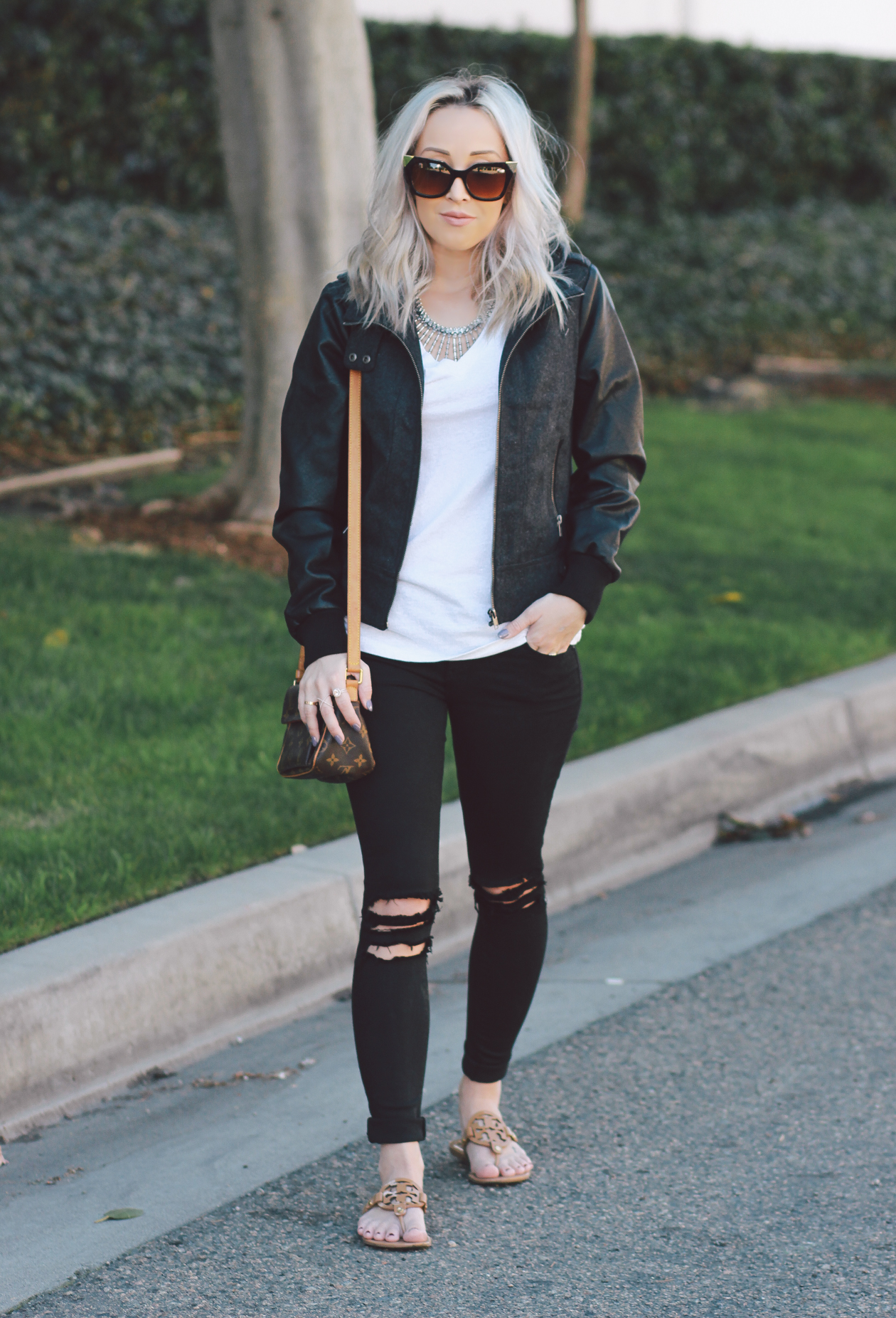 Faux Leather Jacket | Cat Eye Sunglasses | Louis Vuitton crossbody | BlondieintheCity.com