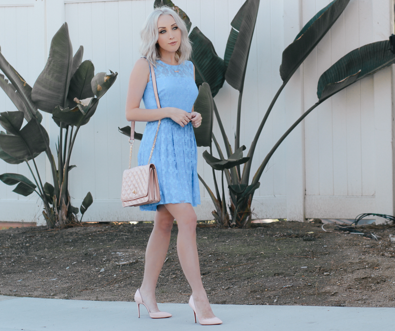 Periwinkle Dress by @maggylondon + Pink Christian Louboutin's | BlondieintheCity.com