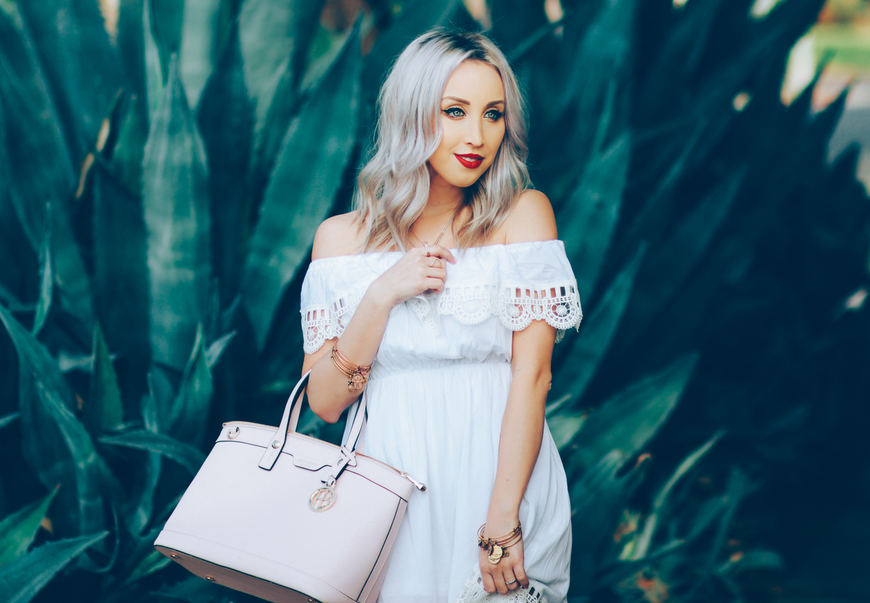 White Off The Shoulder Dress | Pink Bow Heels | BlondieintheCity.com