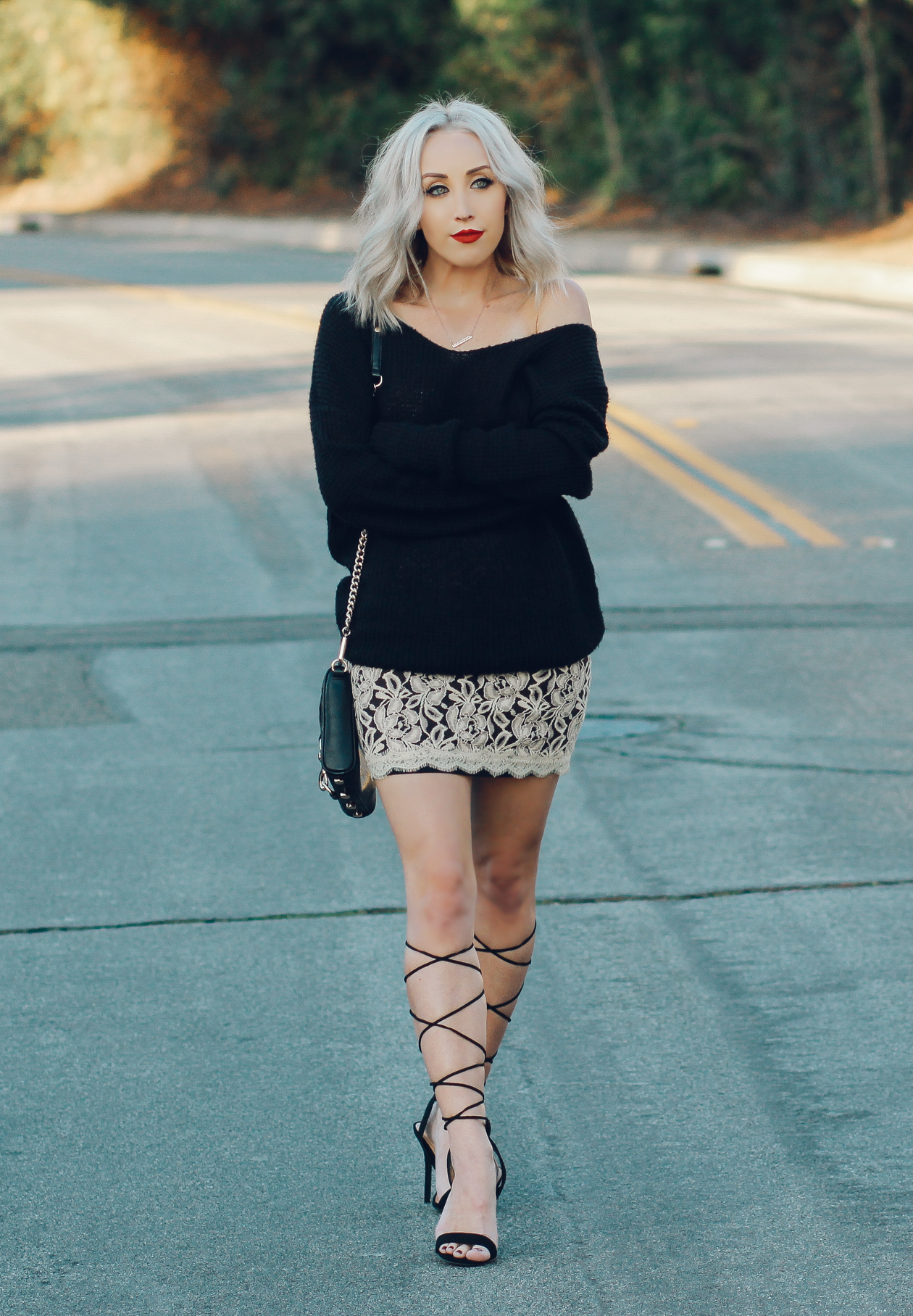 Street Style |Lace Skirt with Oversized Waffle Knit Pullover | BlondieintheCity.com