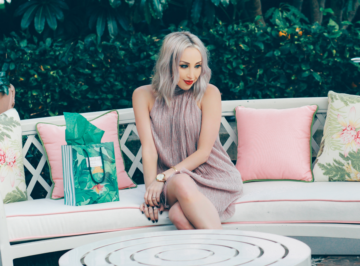 Pink Pleated Dress by @maggylondon | The Beverly Hills Hotel | BlondieintheCity.com
