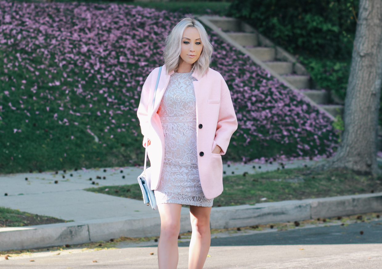 Blondie in the City | Pastel Spring Outfit | Blue Lace Dress, Pink Coat, Christian Louboutin's, & Reversible Python Clutch by @giginewyork
