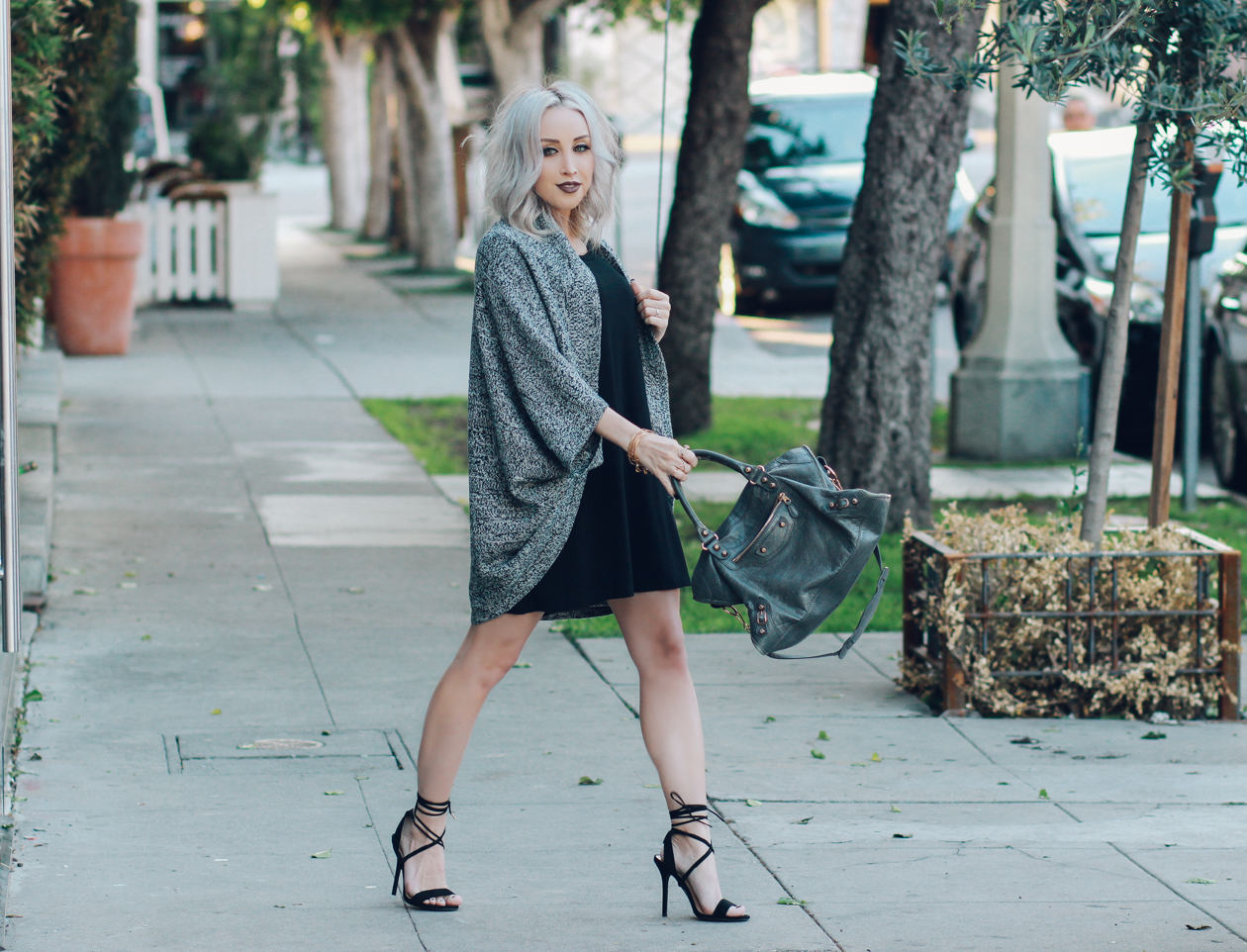 Heathered Cardigan - Lace Up Heels - Grey Balenciaga Bag - Anastasia Beverly Hills Liquid Lipstick | BlondieintheCity.com