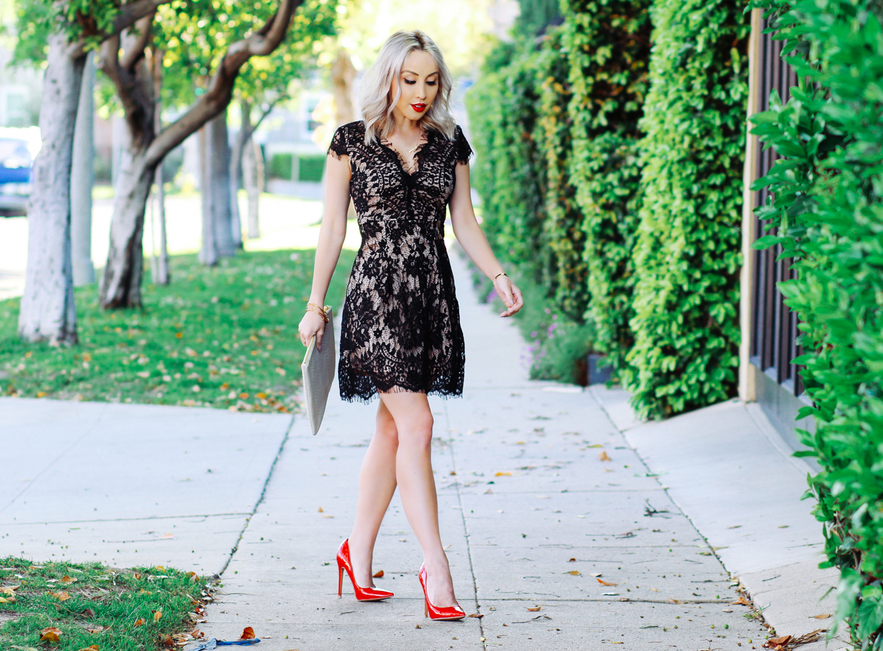 Blondie in the City | Eyelash Lace Dress, Red Lipstick, & Red Pumps