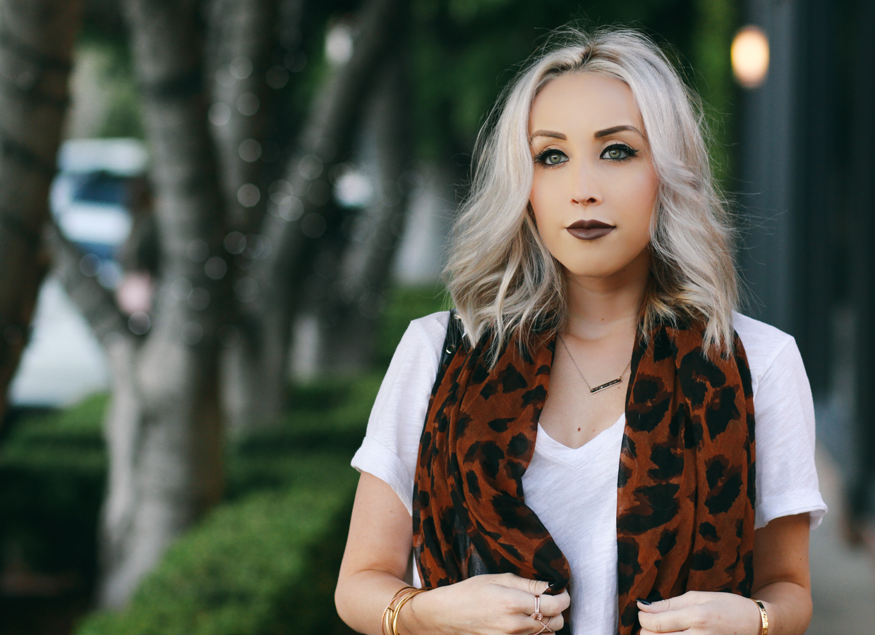 Blondie in the City | Casual Style in Leopard, Madewell White Tee, Anastasia Beverly Hills Liquid Lipstick, Short Ash Blonde Hair