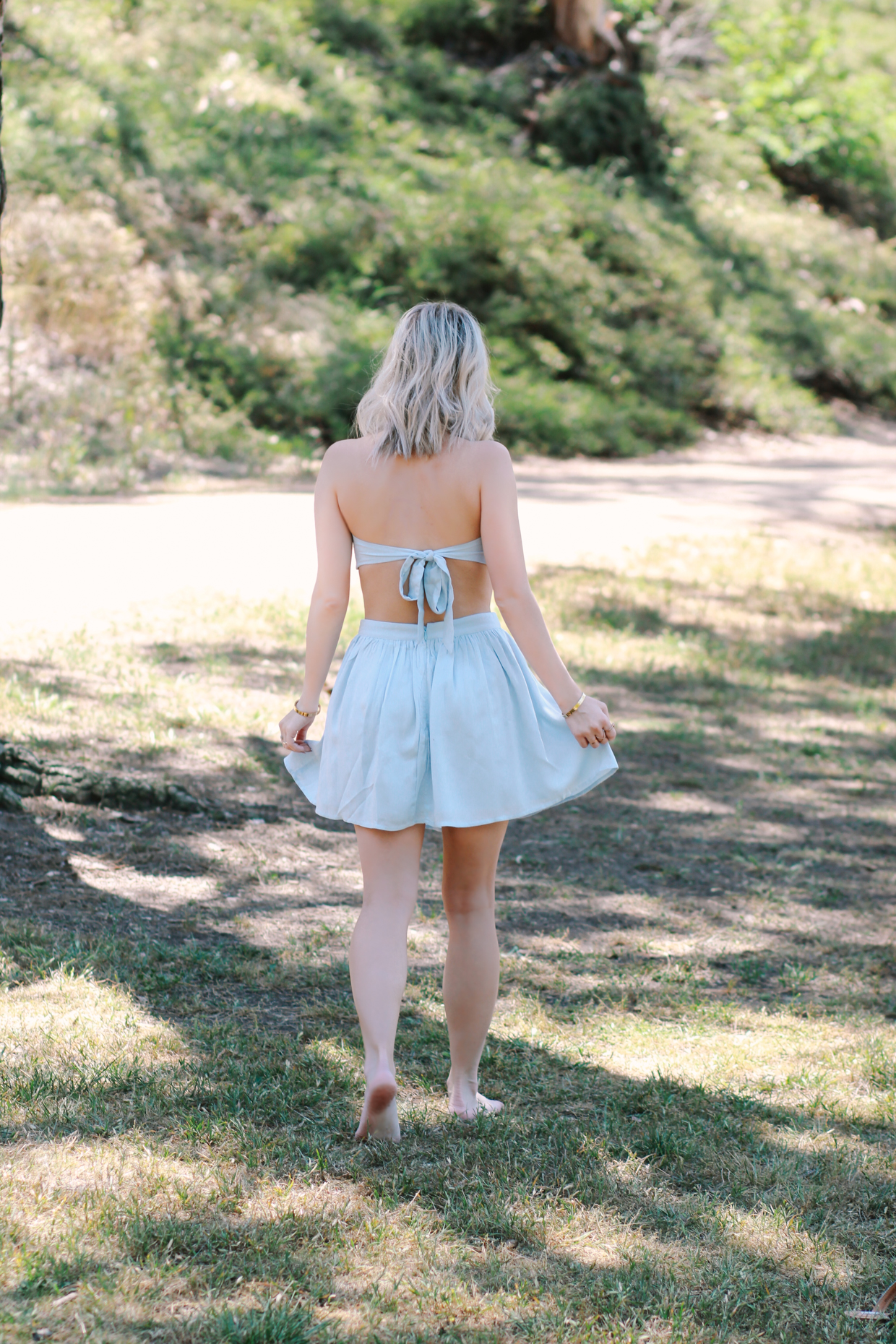 Blondie in the City | Baby Blue Bandeau and Skirt Set from @shoptobi | Summer / Festival Inspired Outfit