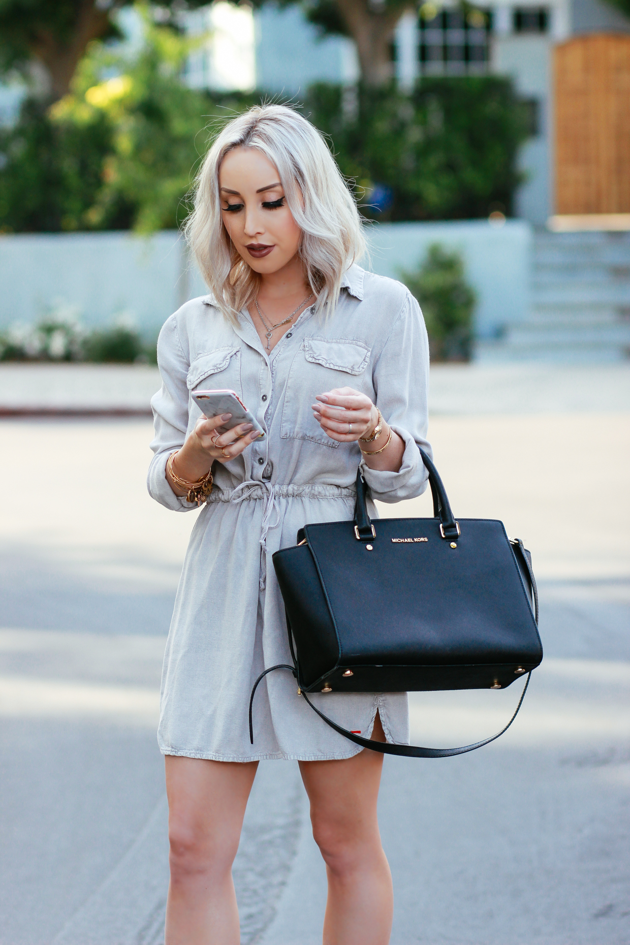 Blondie in the City | Button Up Cargo Dress, Michael Kors Bag, Ankle Strap Heels
