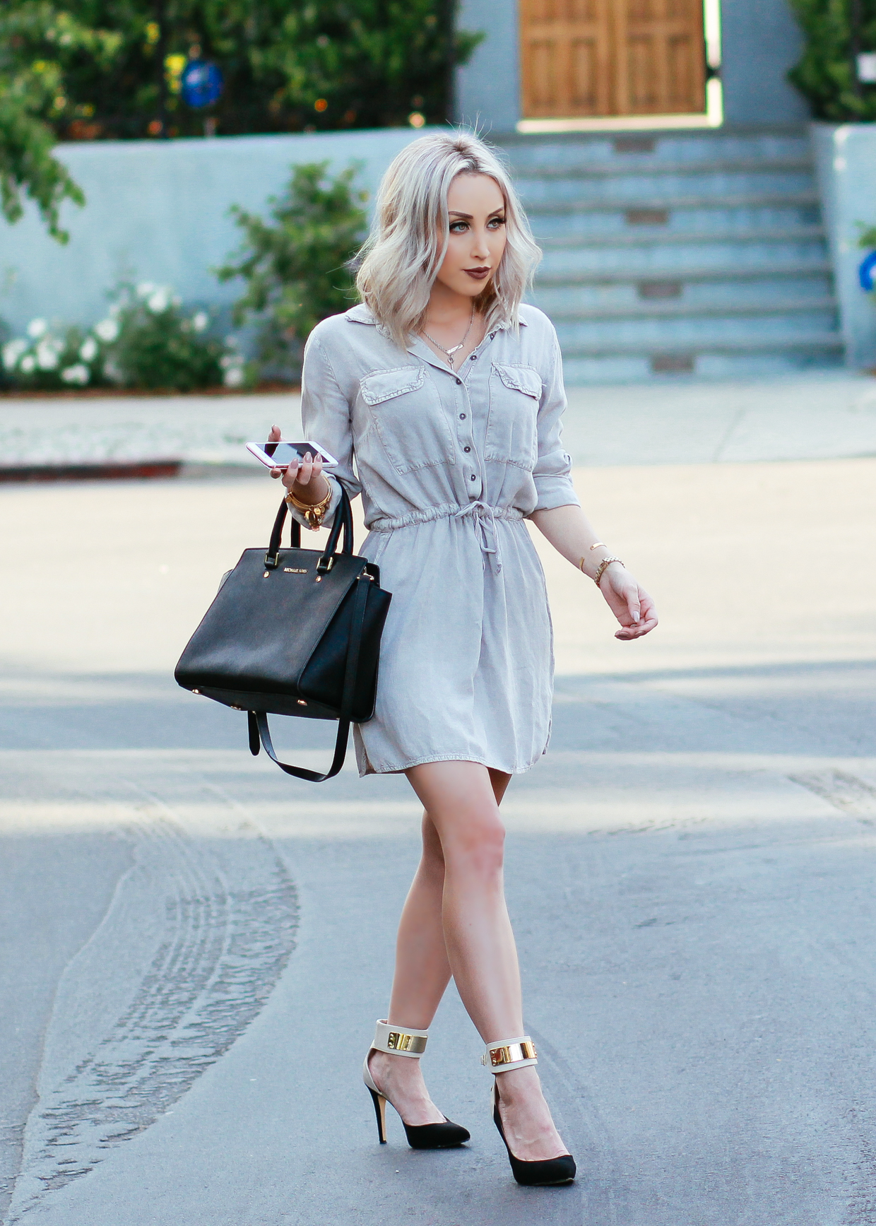 Blondie in the City | Beige Button Up Dress, Michael Kors Bag, Ankle Strap Heels