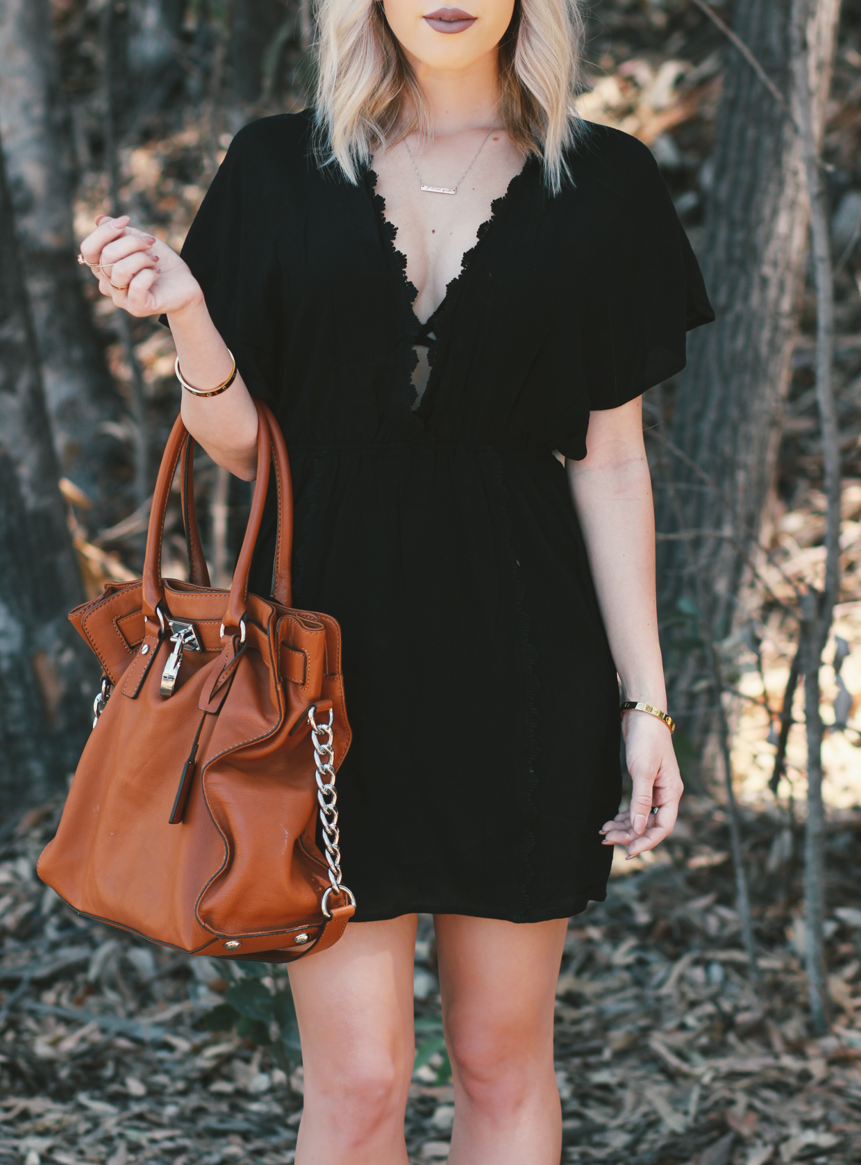 Blondie in the City | Black Beach Cover Up @shoptobi | Camel Michael Kors Bag